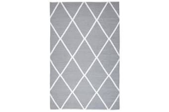 Coastal Indoor Out door Rug Diamond Grey White 220x150cm