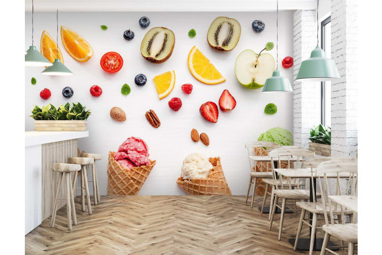 3D Kiwi Orange Ice Cream 4578 Woven paper (need glue), XXL 312cm x 219cm (WxH)(123''x87'')
