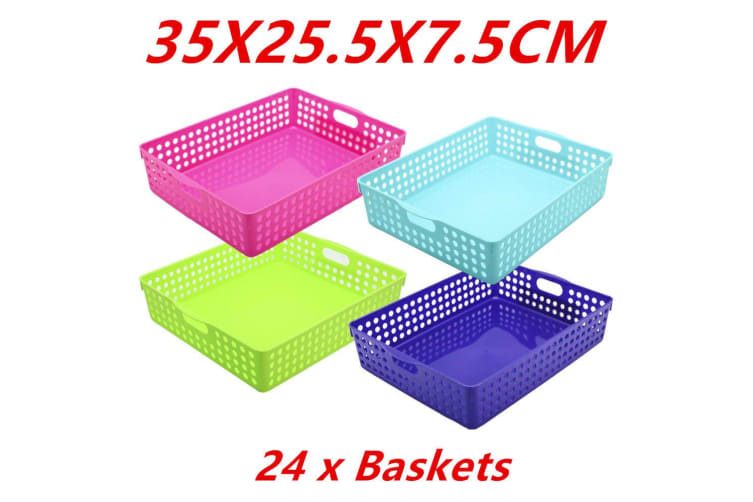 24 x Neon Color Plastic Storage Basket Bins Containers 35X25.5X7.5CM Home Office WMCV