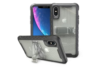 Grey Honeycomb For iPhone XR Case Armour Phone Cover KickStand