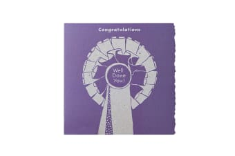Deckled Edge Colour Block Pony Greetings Card (Congratulations Well Done You - Rosette (Purple))