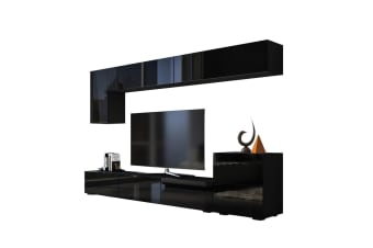 Wall Hanging TV Cabinet Bench Set High Gloss Front Black