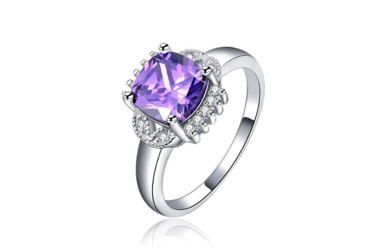 Purple Silver Plated cubic zircon ring 6