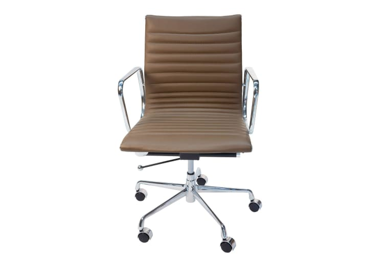 Replica Eames Low Back Ribbed Leather Management Desk / Office Chair | Brown