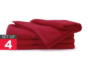 Ovela Set of 4 Bamboo Cotton Luxury Bath Sheets (Crimson Red)