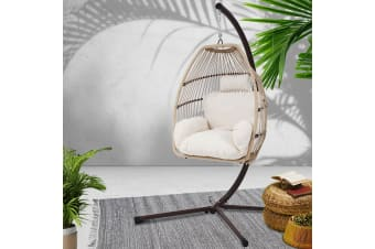 Outdoor Furniture Egg Hanging Swing Chair Stand Wicker Hammock