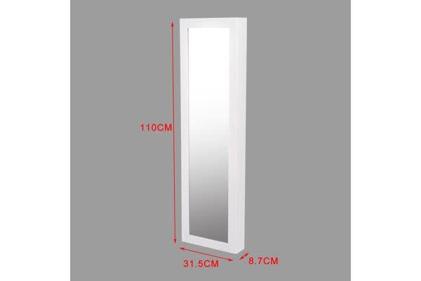 Wall Mounted Mirror Jewellery Cabinet White