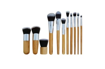 11 Piece Bamboo Handle Makeup Brush Eyeshadow Foundation Concealer Brush - Bamboo Color Bamboo Color