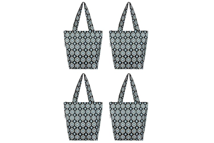 4x Sachi Insulated Thermal Cooler Shopping Bag Storage Market Tote Medallion BLK