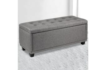 Artiss Ottoman Storage Blanket Box Linen Fabric Foot Stool Toy Large Light Grey
