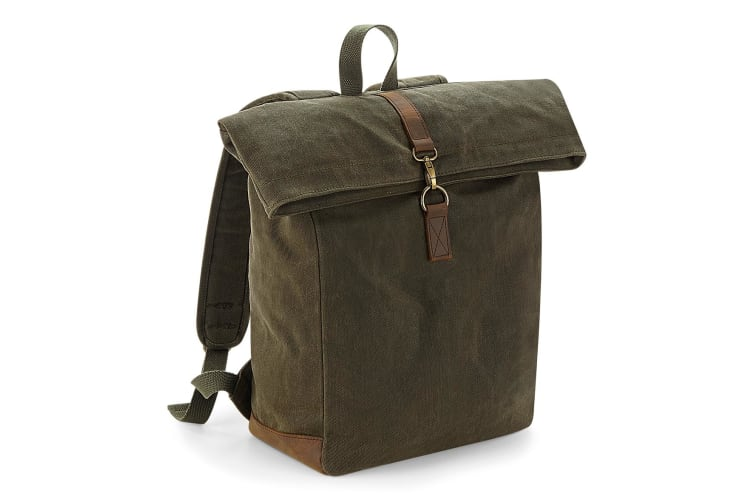 Quadra Heritage Waxed Canvas Leather Accent Backpack (Olive Green) (One Size)