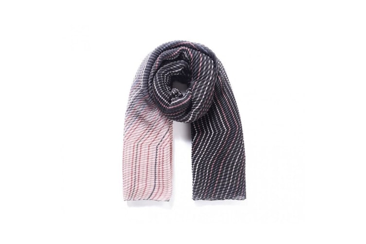 Intrigue Womens/Ladies Two Tone Chevron Pleated Scarf (Brown/Pink) (One Size)