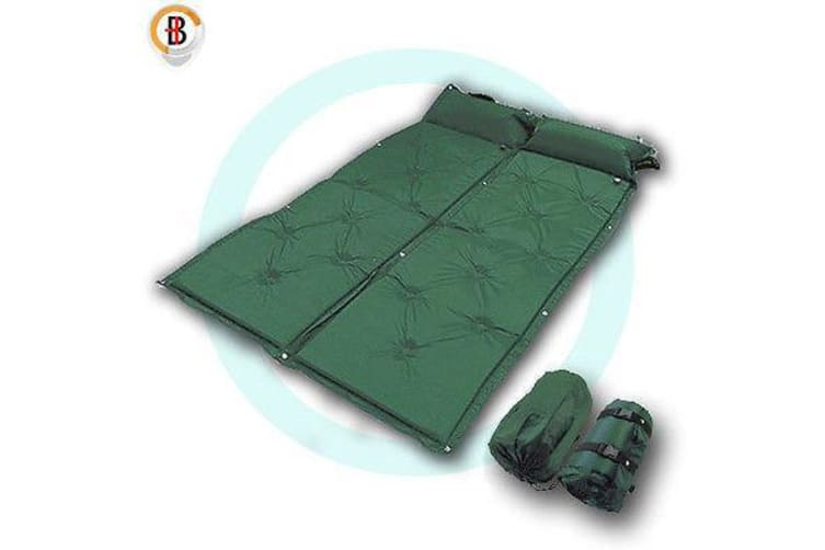 2x Self Inflating Mattress Camping Hiking Airbed Camp Mat Sleeping Pillow Bag G