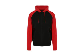 AWDis Just Hoods Mens Baseball Zoodie (Jet Black/Fire Red) (M)