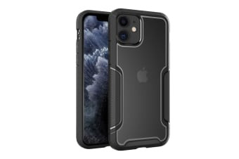 ZUSLAB iPhone 11 Case Armor Shield Anti Slip & Anti Scratch Rubber Bumper with Protective Hard Back Cover for Apple - Black & Grey