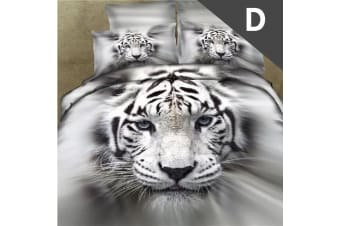 Double Size White Tiger Design Quilt Cover Set