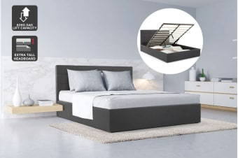 Ovela Bed Frame - Tenby Gas Lift Collection (Charcoal Grey, King)