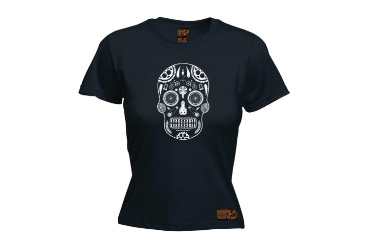 Ride Like The Wind Cycling Tee - Candy Skull Bike Parts - (Large Black Womens T Shirt)