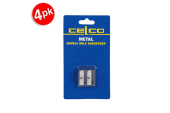 4x Celco Double Hole Metal Pencil Sharper School/Office/Home Stationery Blue