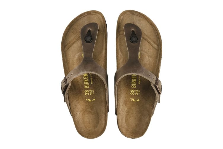 Birkenstock Gizeh Oiled Leather Sandal (Tobacco Brown, Size 39 EU)