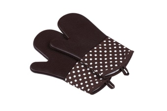 Extra Long Quilted Cotton Lining Heat Resistant Silicone Oven Mitts Coffee