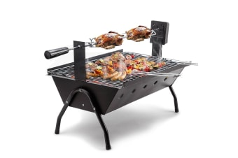 EuroGrille Portable Electric Rotisserie Charcoal BBQ Grill Outdoor Spit Roaster