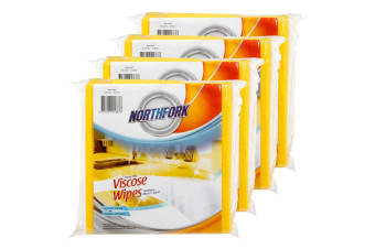 40PK Northfork Heavy Duty Absorbent Viscose Cleaning Wipes/Cloth 40x38cm Yellow