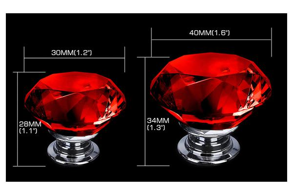 10 PACK Red Diamond Clear Crystal Glass Door Pull Drawer Knob 30mm