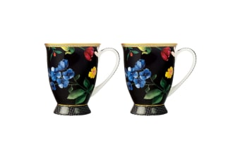 2PK Maxwell & Williams Teas & C's Contessa 300ml Footed Mug Tea Coffee Black