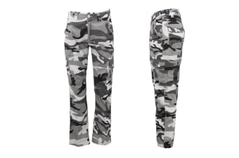 Men's Heavy Duty Cotton Drill Tactical Cargo Work Pants 6 Pockets Outdoor Camo - White Camouflage