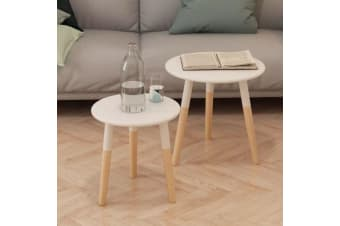 vidaXL Side Table Set 2 Pieces Solid Pinewood White