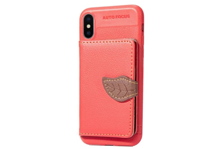 For iPhone XS Max Case Red Lychee Texture PU  TPU Folio Leather Cover