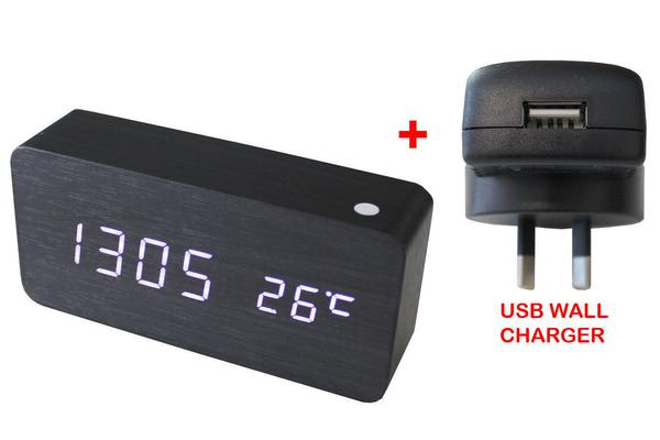 White Led Wooden 3 Alarm Clock Temp Display + Usb Wall Charger Wood Black 6035