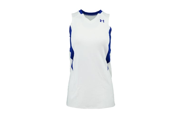 Under Armour Women's Power Performance Jersey Tank Top (Royal/White, Size L)