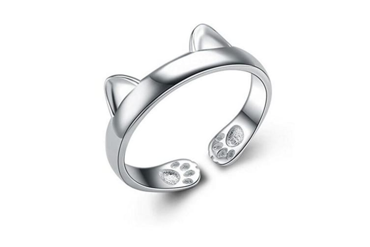 Women's 925 Sterling Silver Rings Simple Cute Cat Design Opening Finger Ring K0002