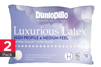 Dunlopillo 2 Pack Luxurious Latex High Profile Pillow (Medium Feel)