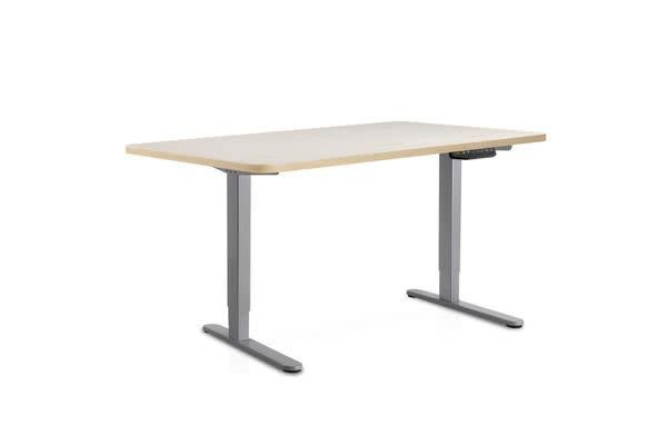 140cm Motorised Electrical Adjustable Frame Standing Desk Wood (Grey)