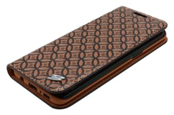 For Samsung Galaxy S8 Wallet Case Fierre Shann Copper Coin Leather Cover Brown