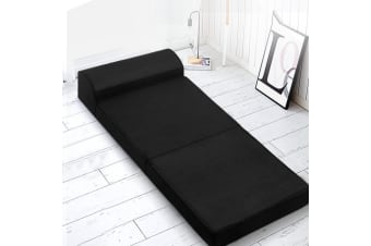 Giselle Bedding Folding Foam Mattress Portable Single Sofa Bed Mat Air Mesh Fabric Black