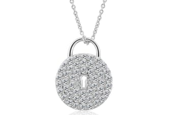 Fancy Padlock Necklace-White Gold/Clear