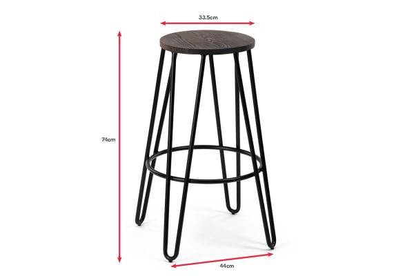 Ovela Set of 2 Everett Timber Top Stools