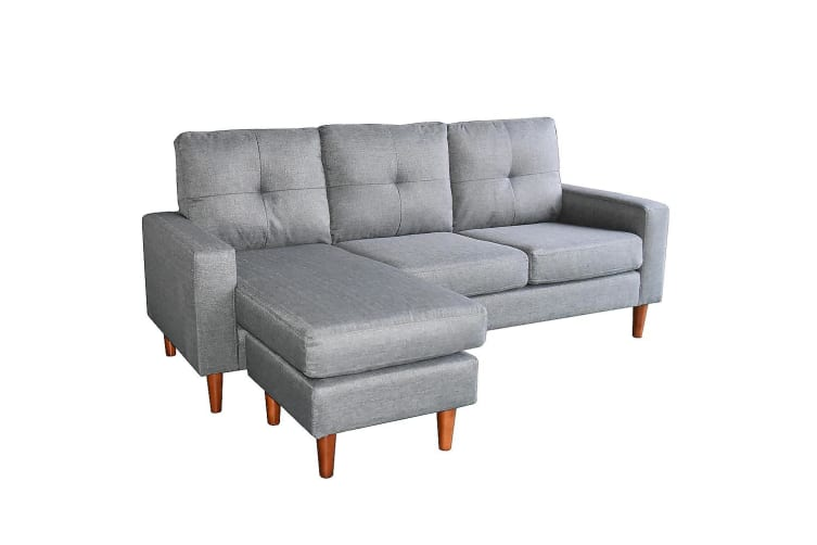 Linen Corner Sofa Couch Lounge Chaise with Wooden Legs - Grey ...