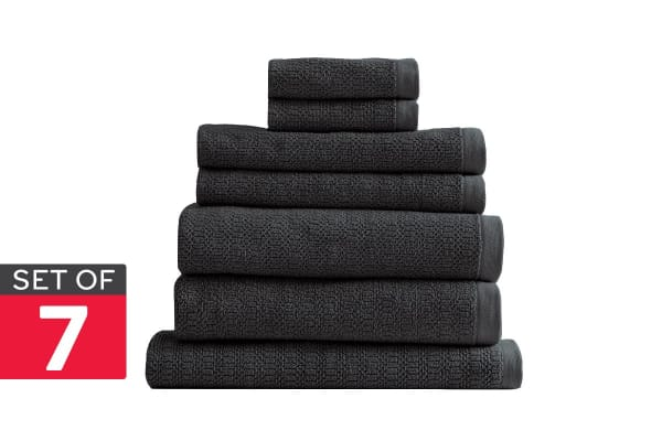 Style & Co Resort Set of 7 600 GSM Egyptian Cotton Jacquard Towels (Charcoal Coconut)
