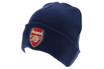 Arsenal FC Unisex Adults TU Crest Knitted Hat (Navy) (One Size)