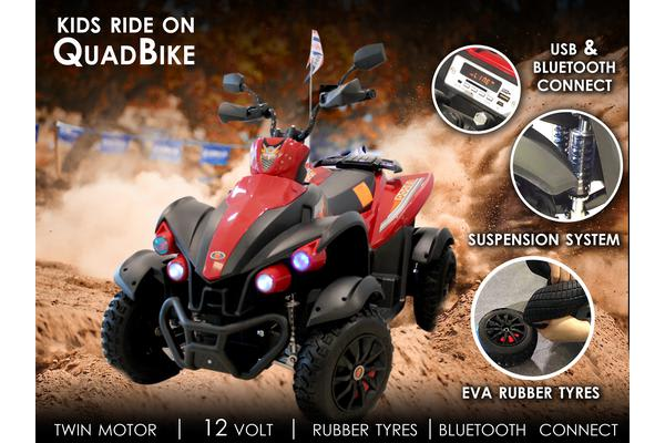 Ride On Quad Bike 12V Battery Bluetooth Music Eva Rubber Tyre Suspension Usb
