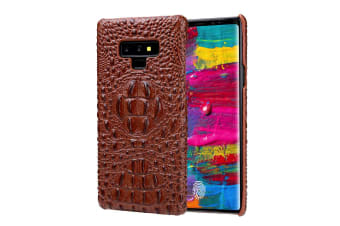 For Samsung Galaxy Note 9 Case Crocodile 3D Genuine Leather Phone Cover Brown
