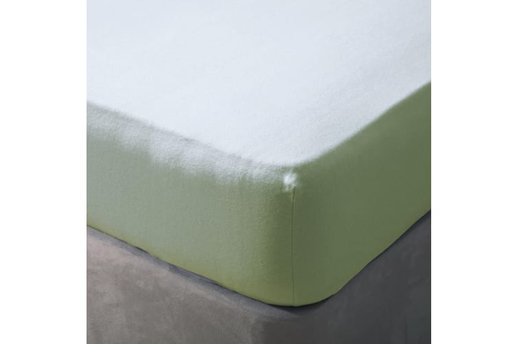Belledorm Brushed Cotton Extra Deep Fitted Sheet (Green Apple) (Narrow Double)
