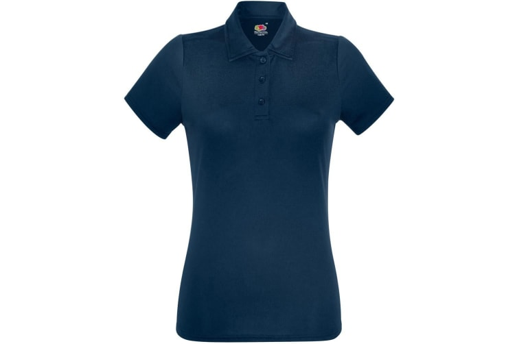 Fruit Of The Loom Womens/Ladies Short Sleeve Moisture Wicking Performance Polo Shirt (Deep Navy) (XS)