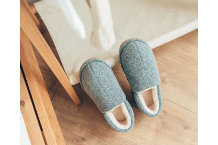 Comfy Fuzzy Knit Cotton Memory Foam House Shoes Slippers - Dark Blue Blue 41-42(260Mm Length)