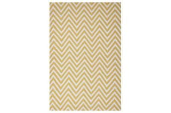 Modern Flatweave Chevron Design Yellow Rug